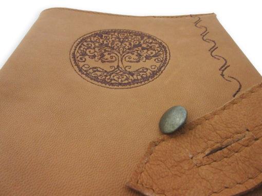 Kožený obal na knihu hnědý - detail